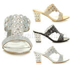 WOMENS LADIES MID HEEL PARTY DIAMANTE SLIP ON STRAPPY MULES SANDALS SHOES SIZE