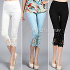 Women Floral Lace Stretch Trousers Pants Rhinestone Cropped High Waist Leggings