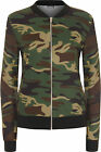 New Womens Camouflage Print Zip Long Sleeve Combat Ladies Bomber Jacket 8-14
