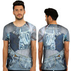 Denim 3D Print Fitted T-Shirt Urban life Monkey Business Hip Hop Top