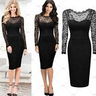 Ladies Vintage Cocktail Party Evening Bodycon Floral Lace Business Pencil Dress