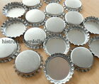 "1"" Standard Size Chrome Silver Linerless Bottle Caps No Liners Crowns Craft Bows"