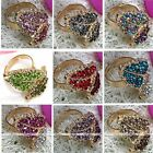 Fashion Colors Crystal Rhinestone Cocktail Leaf Adjust Finger Ring Party Jewelry