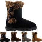 Womens Twin Toggle Short Fur Lined Winter Rain Snow Shoes Boots Ladies 3-8