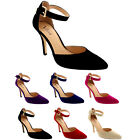 Womens Ankle Strap Low Mid Heel Office Work Court Shoes Pointed Toe Suede UK 3-9