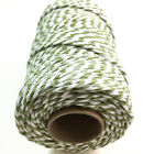 BEAUTIFUL BAKERS TWINE SAGE GREEN / WHITE 2mm 2 PLY - STRING CORD TWO TONE