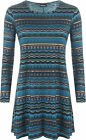 Womens Plus Long Sleeve Blue Aztec Foil Print Round Neck Top Ladies Swing Dress