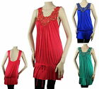Embroider Tunic Baby Doll Sexy Tank Top BLOUSE Pleat Stretch Evening Shirt Plus