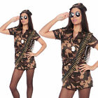 Ladies Adult Sexy Camo Army Girl Soldier Fancy Dress Costume Womens Outfit