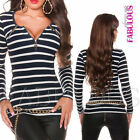 Sexy Women's Striped Jumper Top Zip Detail Casual Party Wear Size 8 10 12 S M L