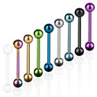 Zungenpiercing Edelstahl Hantel Tragus Stab Tongue Barbell Multi Color eloxiert