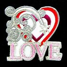 """Love Heart Words 2""""x2.2"""" Iron On Patch Sewing Emblem Motif DIY Appliques I0421"""