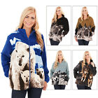 Mens Womens Animal Printed Fleece Jacket New Zip Up High Funnel Neck Warm Coat