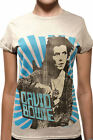 David Bowie Official Womens Fitted T Shirt Grey Top Tee Blue Beams Space Oddity