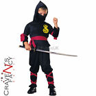 Ninja Boys Martial Arts Fancy Dress Kids Black Uniform & Hood Halloween Costume