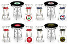 FC721 3 PIECE VINTAGE GAS GARAGE SHOP THEMED ROUND BAR TABLE & CHROME STOOLS SET