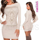 Sexy Women's Sweater Mini Dress Jumper Knit Top Hot Pullover Size 8 10 12 S M L