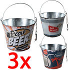 3 X ICE BUCKET METAL TIN DRINKS PARTY BARBECUE CHAMPAGNE BOTTLE OPENER WINE BEER