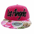 Baseball City Hunter Los Angeles Pink Floral Snapback Flat Peak Cap Hat