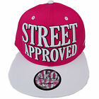 Baseball State Property Street Approved Pink White Flatpeak Snapback Cap Hat