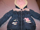 Girls Padded Zip Up Peppa Pig  Coat Size  3- 4 Years