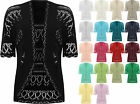 Womens Plus Knitted Crochet Short Sleeve Top Shrug Ladies Open Cardigan 24-30