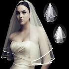 New 2T White or Ivory Wedding Bridal Veil With Satin Edge Comb Elbow Elegant UK