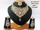 Indian Bollywood Style Fashion Silver Plated Bridal Jewelry Necklace Set,Style 7