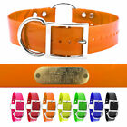 "21"" Hunting Dog Name Collar Strap Heavy Duty Ring in Center 1 1/2"" Wide Solid"