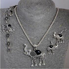 Womens Vintage Tibetan Silver Turquoise Elephant Nacklace Earrings Bracelet Set