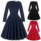 New 50s Style BLACK Long Sleeve Full Skirt PLUS SIZE PINUP Housewife Day Dress