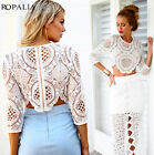 Casual Women's Lace Chiffon Crochet Hollow Long Sleeve Shirt Blouse Ropalia Hot