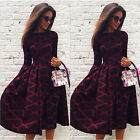 Sexy Women Autumn Tunic Swing Midi Skater Long Sleeve A-Line Party Evening Dress