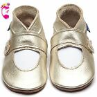 Girls Luxury Leather Soft Sole Baby Shoes - Mary Jane Metallic Gold - Inch Blue