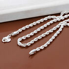 """New Fashion Jewelry Women Lady Hot Silver Necklace Twisted Chain Size 16""""-30"""" J"""