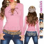 New Sexy Women's Lace Up Sweater Knitted Top Jumper Pullover Size 6 8 10 XS S M