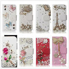 Bling Diamond Wallet Flip Rhinestone Crystals PU Leather Case Cover For Samsung