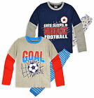 Boys Football Pyjamas Kids Cotton Nightwear Long Sleeve Pj New Age 2 3 4 5 6 Yrs