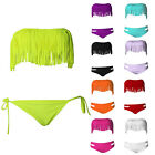 Sexy Tassel Padded Swimwear Bandeau Fringe Top + Bottom Beach Wear Bikini Set