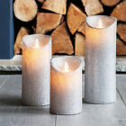 Silver Glitter Battery Operated LED Dancing Flame Candles Xmas Party Decoration