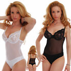 Ladies Bodysuit with lace soft cup - built bra thong 605 by Tiara Galiano Europe