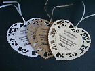 10 x Personalised Wedding/Any Occasion Favour Double Heart Thank You Tags
