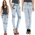 New Ladies High Waist Ribbed Panel Stretchy Skinny Denim Jeans Size 8 10 12 14