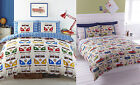 Splitscreen / Vintage Designer Vibrant Bright Fabric Quilt Duvet Cover Red Blue
