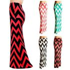 CHEVRON COLOR BLOCKED STRIPED LONG ELASTIC OVER WAIST JERSEY MAXI DRESS S M L XL