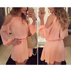 Sexy Women Summer Casual Floral Chiffon Cocktail Party Off Shoulder Mini Dress