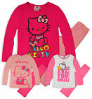 Girls Hello Kitty Pyjamas New Kids Long Sleeved Pink Sleepwear 4 6 8 10 Years