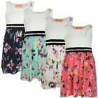 Girls Floral Butterfly Skirt Lace Top Dress Kids Casual Summer Dress 3-14 Years