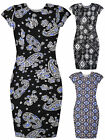Ladies Printed Midi Dress New Ladies Short Sleeved Fitted Dresses Sizes 8-14