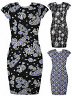 Ladies New Printed Dress Womens Short Sleeved Black Midi UK S/M M/L 8 10 12 14